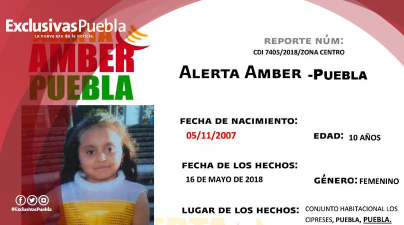 Fiscalía activa Alerta Amber para ubicar a Mildred Sánchez Castañeda de 10 años de edad.