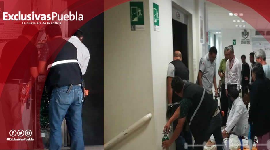 (Video) Se cae elevador del ISSSTE en Puebla