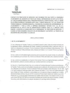 Contrato por la publicidad de las actividades del H. Ayuntamiento de Teziutlán con la empresa Estudio 101.9 S.A. de C.V.